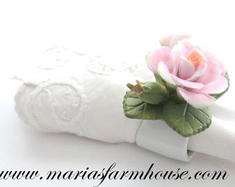 Vintage, Ceramic Rose Napkin Rings, Set of 2, High Tea Party, Gifts for Her, Little Princess Birthday, Favors