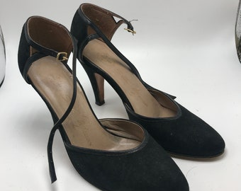 vintage 80's 90's Mary Jane style black heels rounded toe size 5.5 hipster classic simple black heels
