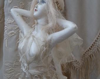 Antique French boudoir doll chalkware Paris wedding wax 1920