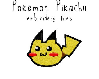 Pokemon Pikachu EMBROIDERY MACHINE FILES pattern design hus jef pes dst all formats Instant Download digital applique kawaii cute