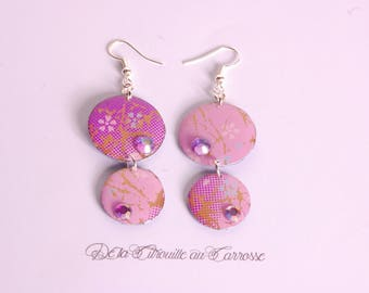 Purple japanese pattern earrings, purple rhinestone