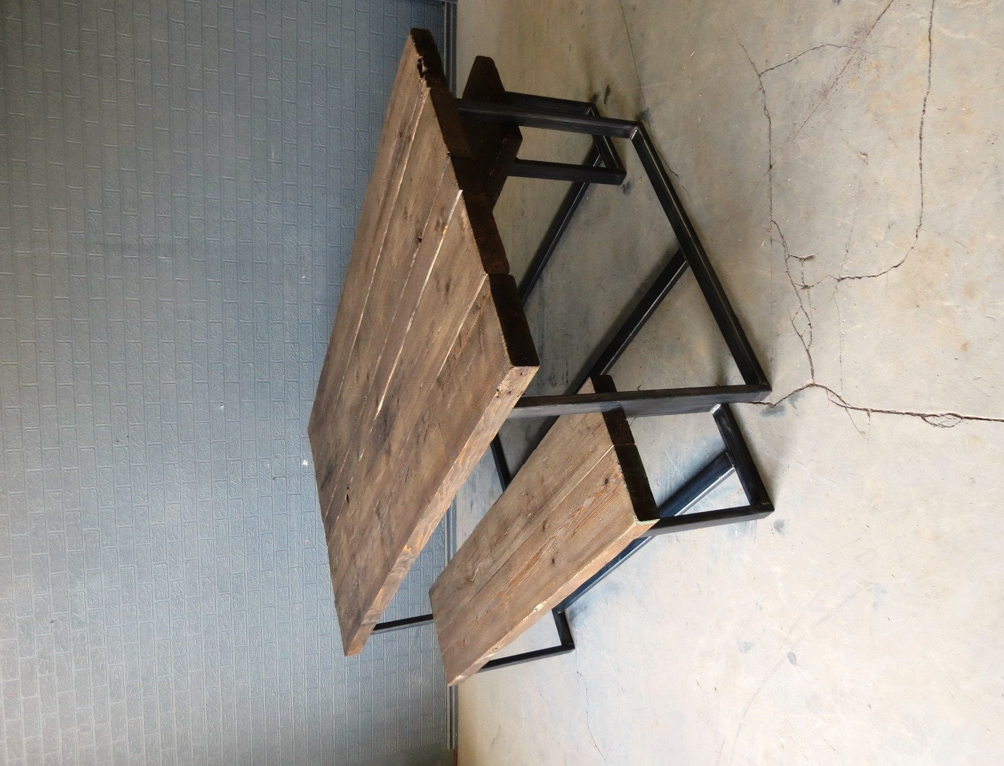 reclaimed industrial chic 6 8 seater dining table bar cafe. Black Bedroom Furniture Sets. Home Design Ideas