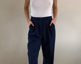 80s High Waisted Pleated Polyester Baggy Trousers Tapered Cropped Leg Navy | S/M