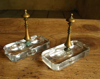 Pair of French Cut Glass Salt and Pepper cellars with brass handle, 1880/90s