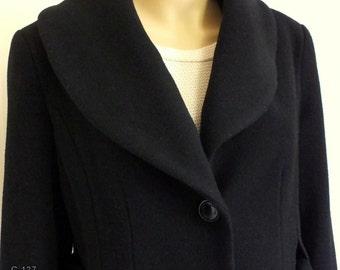 Calvin Klein women belted black wool coat size 10