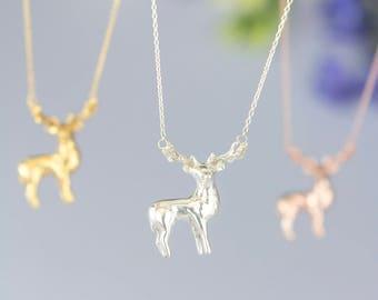 Stag Elk Deer Necklace. Hand Carved Design | Sterling Silver Gold Rose Gold | Personalised Animal Pendant by Rosalind Elunyd Jewellery