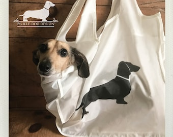 Doxie. Tote Bag -- (Reusable, Shopping Bag, Bag, Dog Bag, Dog, Cute, Dachshund, Vintage-Style, Weiner Dog, Rustic, Eco Chic, Birthday Gift)