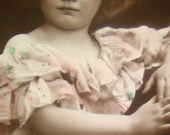 Vintage/Antique Hand Tinted RPPC (Adorable Little Girl)