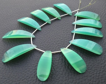 AMAZING,Brand New, 1 Matched Pairs, 30mm Long,  CHRYSOPRASE Chalcedony Elongated Curved Pear Briolettes,Amazing Item at Low Price