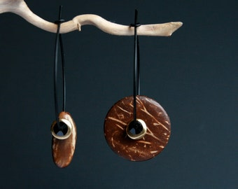 mismatch earrings with coconut shell and natural seed - asymmetrical beaded hoops - wooden ethnic jewelry