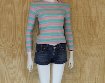Vintage 1970's Space Dyed Pastel Stripe Ribbed Knit Jumper Sweater Small Medium S / M
