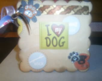Love My Dog Chipboard Album Pet Dog Puppy Album