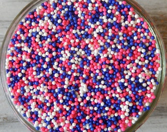 Sprinkles, 6 oz - Princess Nonpareils Mix (pink, purple, white) - For Cupcakes - Cookies - Cake Pops - Ice Cream - Dipped Pretzels - Cakes