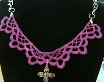 Vibrant Vintage Purple Lace Necklace
