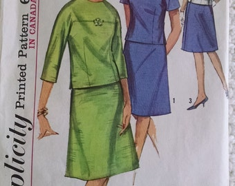 Vintage Simplicity Two-Piece Dress Pattern 5781, Size 16