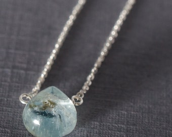 Aquamarine Little Rock Sterling Silver Necklace- Choose your semi precious stone