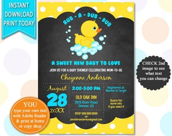 Duck baby shower etsy rubber duck baby shower duck baby shower baby shower invite duck invitation filmwisefo Gallery