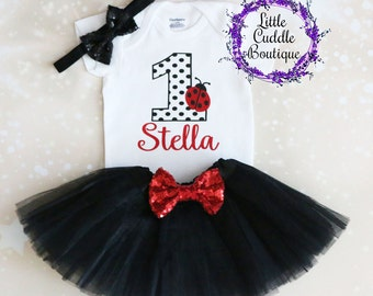 Personalized Ladybug First Birthday Outfit, Baby Girl Outfit, Ladybug Outfit, Ladybug Bodysuit, Ladybug Shirt, Ladybug Birthday, Birthday