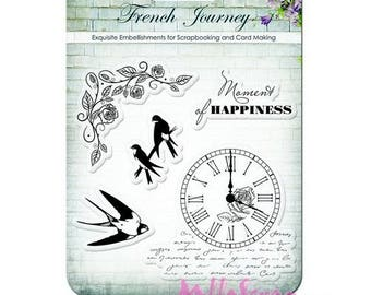 """Clear stamps """"french Journey"""" scrapbooking embellishment *."""