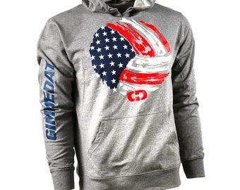 GIMMEDAT USA Volleyball French Terry Hoodie - Lightweight Softball Hoodies, Softball Sweatshirts - Free Shipping!