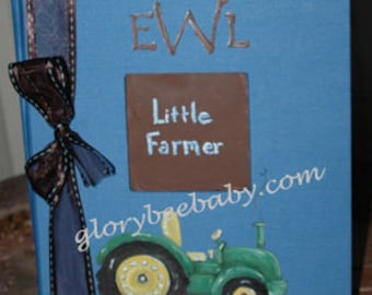Baby Book | Little Farmer Baby Memory Book in Blue and Brown