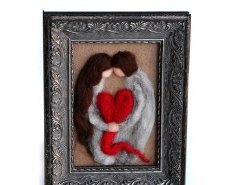 Valentines Decor - Valentines Husband - Valentines Wife - Valentines Felted