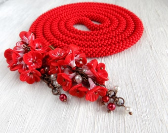 Beauty Gift for women Beaded Lariat Red necklace Red Lariat Beaded Necklace Seed bead choker flowers Beaded rope transformer necklace