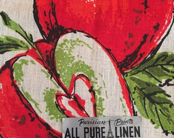 MWT Parisian Prints All Pure Linen Apple Dish or Tea Towel Made in the USA
