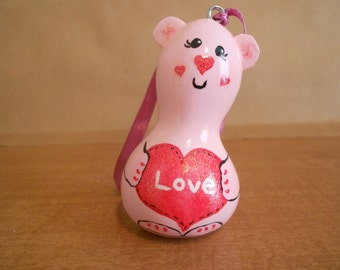 Painted Gourds, Painted Mini Gourd, Pink Bear gourd ornament