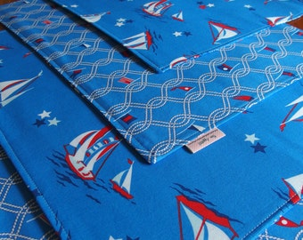 Sailboat Placemats (2, 4, 6) Nautical Sailing Flags, Blue, Red Summer, Reversible Table Mat, Anna Griffin Blend Seafarer Maritime Breakwater