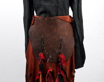 Long brown leather battleskirt apron larp fantasy Dothraki Game of Thrones armor costume Tarzan warcraft orc armour medieval vikings cosplay