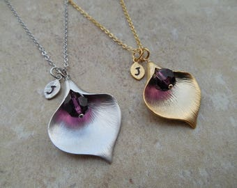 Gold or Silver February Amethyst Birthstone Necklace w/ Initial Leaf,Calla Lily, Available in all birthstones, Birthday Gift,Bridesmaid Gift