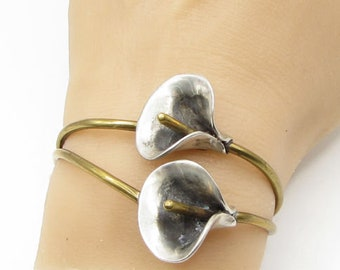 925 sterling silver - vintage 2-tone calla lily flower cuff bracelet - b1286