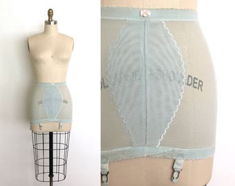 vintage 1950s girdle | 50s blue power mesh shapewear