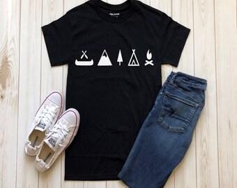 Mountains, Tent, Tree, Campfire shirt, Camping shirt, outdoors shirt, hiking, Canoe