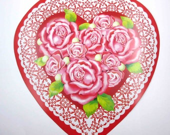 Vintage Valentine Heart Die Cut with Roses Flowers Lace