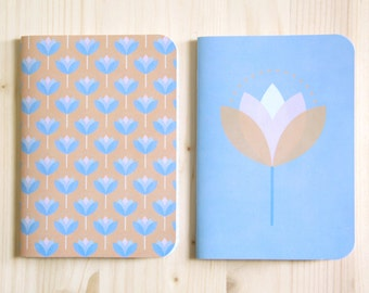 Set of 2 Retro Notebooks A6 // Recycled Paper // To sketch Blue Cover Plain White Paper // To write Orange Print Flowers Lined Paper // LCA3