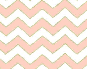 Chic Chevron Pearlized Blush Pink, dc5709, GLITZ Michael Miller Fabrics, Quilting Fabric, Quilt Fabric, Metallic Fabric, Fabric By the Yard