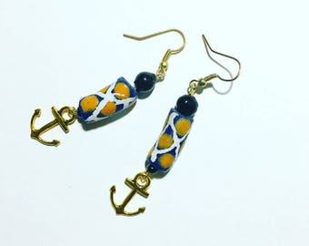 Anchor Krobo bead earrings