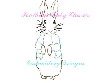 Vintage Peter Rabbit  Easter Bunny Rabbit Digital Design File Embroidery Machine Bean Hand Stitched Look