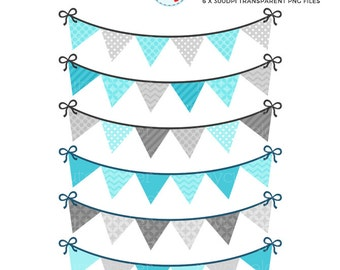 Bunting Clipart Set - patterned bunting clip art set, blue, grey, pennant, party - personal use, small commercial use, instant download