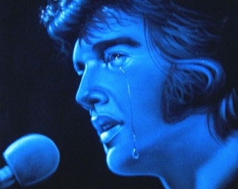 Dazzling Blue Elvis Presley The king  black velvet original oil painting handpainted signed art 18 by 24 inches