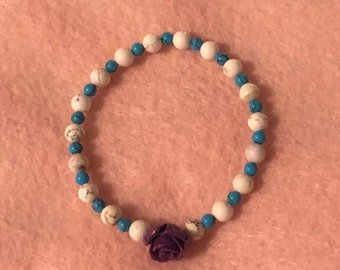 Howlite and Turquoise w/Purple Stone Rose