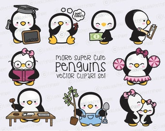 Premium Vector Clipart - More Kawaii Penguins - More Cute Penguins Clipart Set - High Quality Vectors - Instant Download - Kawaii Clipart