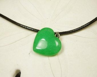 Vivid Green Jade Heart Pendant/ Jade Heart Necklace/ Love