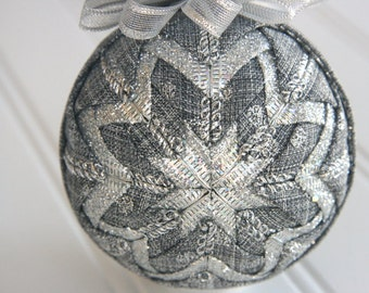 Quilted Christmas Ornament Ball/Gray and Silver - Sterling Splendor
