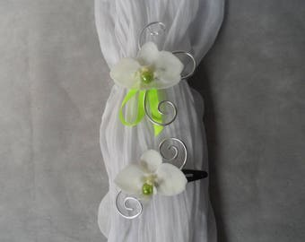 Child set - PIN and flower bracelet - white and lime green