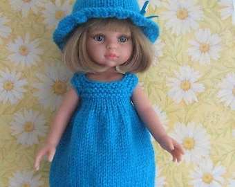 Knitting Pattern - Sunny Day Outfit Dress and Hat to fit Paola Reina/Les Cheries and similar sized dolls Easy knit