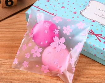 50 Matte Frosted Pink Cherry Blossom Flowers Plastic Candy Bag. Party favor bags and Cookie Bags. Self Adhesive Bags.