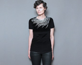 Womens Graphic T shirt - Peacock Shirt for Women - Silver Metallic Feather Screen Print